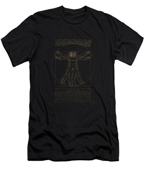 Vitruvian Man By Leonardo Da Vinci In Gold On Black Men's T-Shirt (Athletic Fit)
