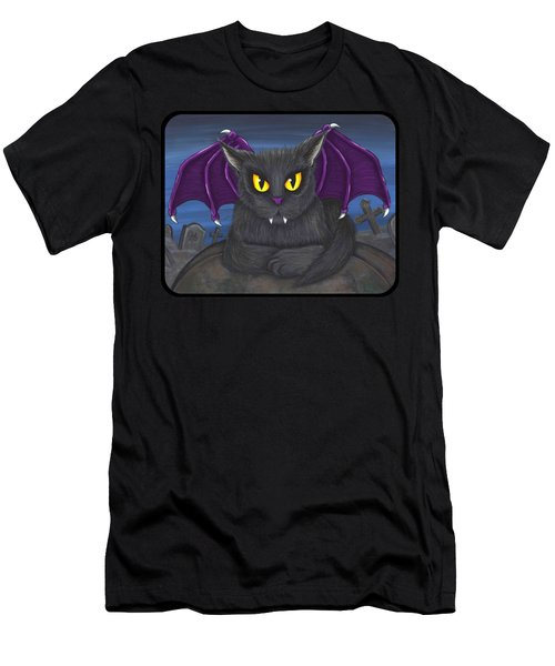 Men's T-Shirt (Slim Fit) featuring the painting Vlad Vampire Cat by Carrie Hawks