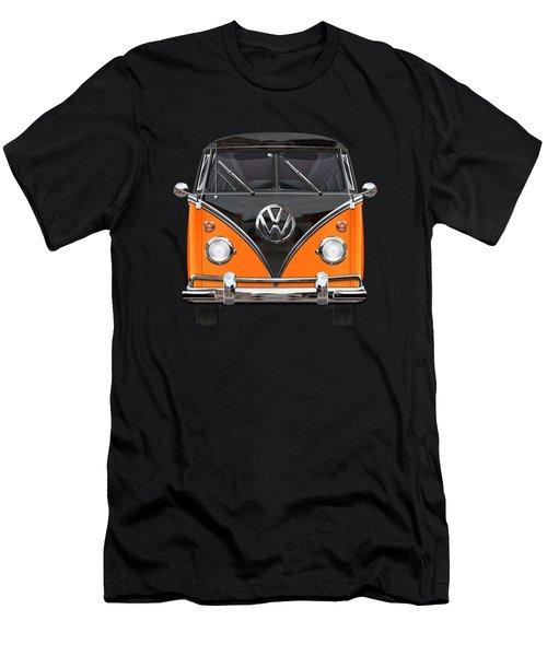 Volkswagen Type 2 - Black And Orange Volkswagen T 1 Samba Bus Over Blue Men's T-Shirt (Athletic Fit)