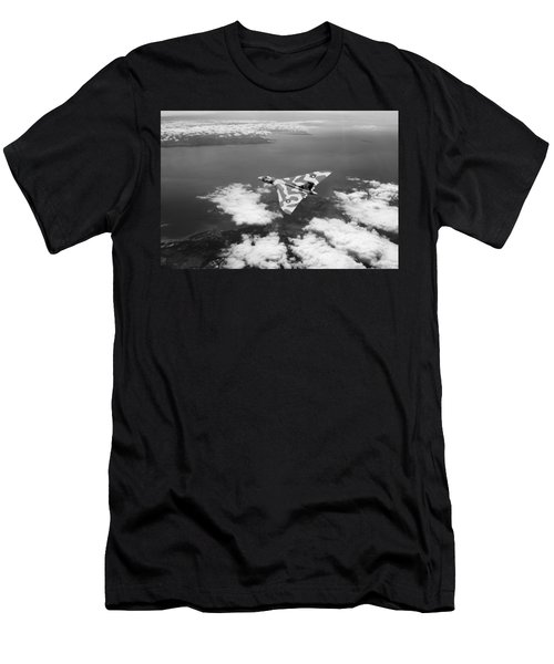 Vulcan Over South Wales Black And White Men's T-Shirt (Athletic Fit)