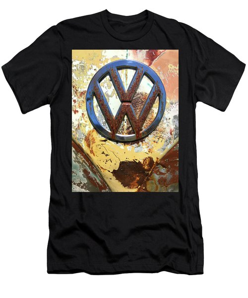 Men's T-Shirt (Athletic Fit) featuring the photograph Vw Volkswagen Emblem With Rust by Kelly Hazel