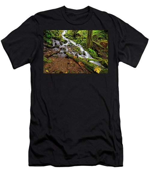 Wahkeena Falls Men's T-Shirt (Slim Fit) by Jonathan Davison