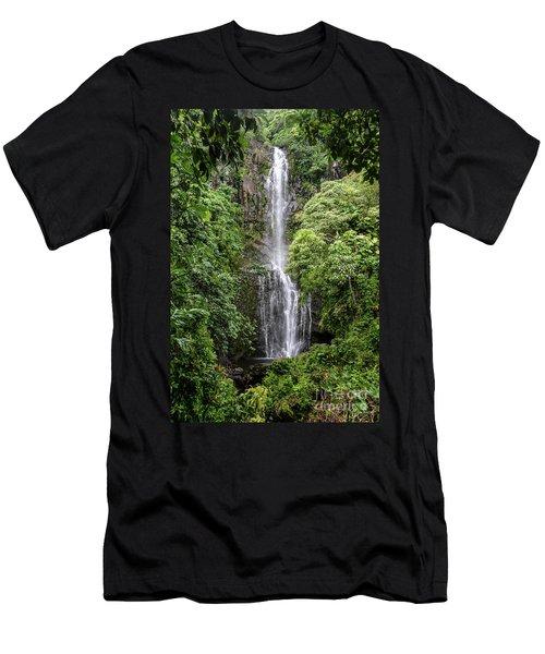 Wailua Falls On The Road To Hana, Maui, Hawaii Men's T-Shirt (Slim Fit) by Peter Dang