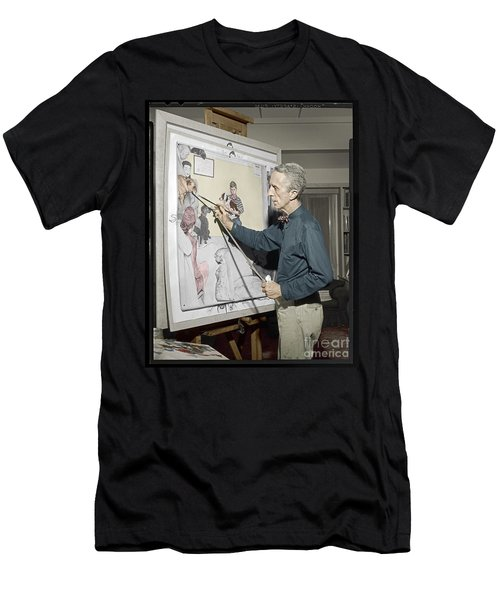 Men's T-Shirt (Slim Fit) featuring the photograph Waiting For The Vet Norman Rockwell by Martin Konopacki Restoration