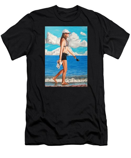 Walking On The Beach - Caminando Por La Playa Men's T-Shirt (Athletic Fit)