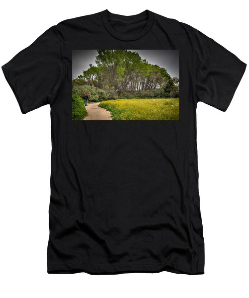 Walking Path In Tall Oak Trees In Spring Men's T-Shirt (Athletic Fit)