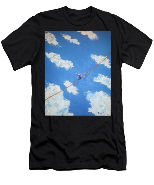 Men's T-Shirt (Slim Fit) featuring the painting Walking The Line by Thomas Blood