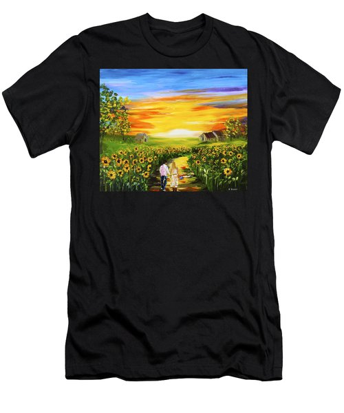 Walking Through The Sunflowers Men's T-Shirt (Athletic Fit)