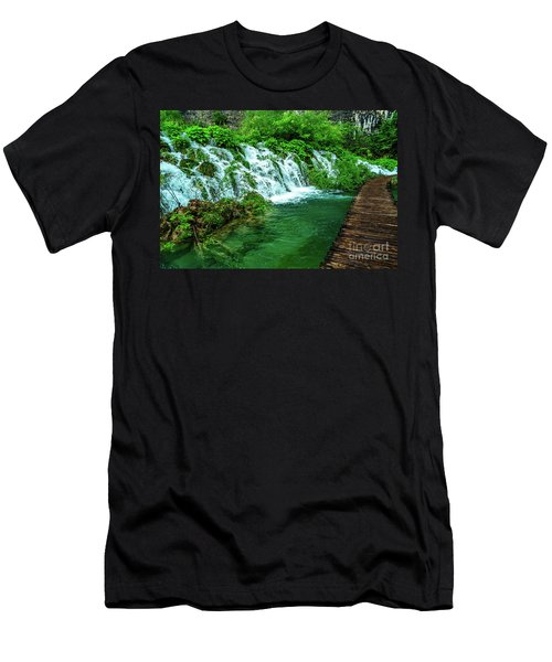 Walking Through Waterfalls - Plitvice Lakes National Park, Croatia Men's T-Shirt (Athletic Fit)