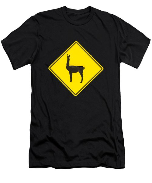 Warning Guanacos Men's T-Shirt (Slim Fit) by Mirko Chianucci