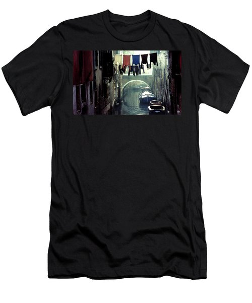 Men's T-Shirt (Athletic Fit) featuring the photograph Washday In Venice Italy by Wayne King