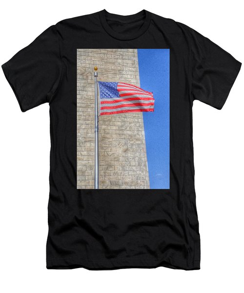 Washington Monument With The American Flag Men's T-Shirt (Athletic Fit)