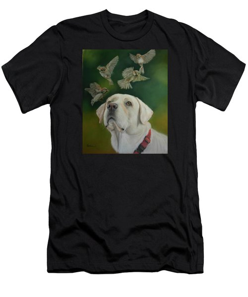 Men's T-Shirt (Slim Fit) featuring the painting Watching Birds by Ceci Watson