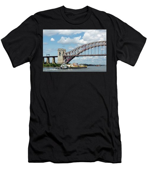 Hell Gate Bridge And Barge Men's T-Shirt (Athletic Fit)