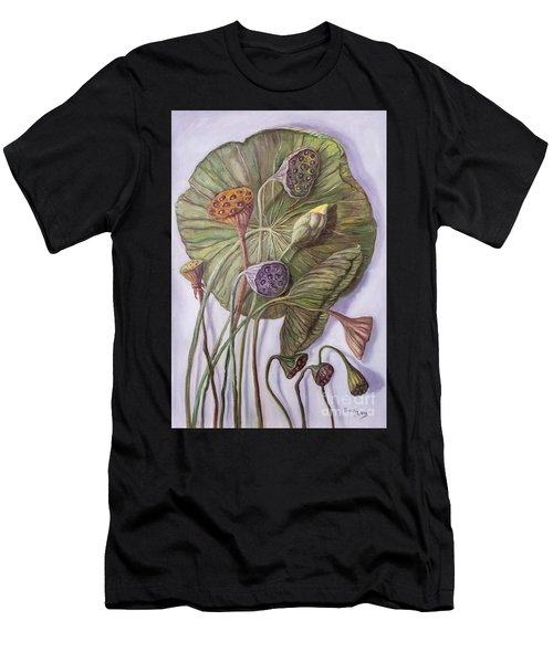 Water Lily Seed Pods Framed By A Leaf Men's T-Shirt (Athletic Fit)