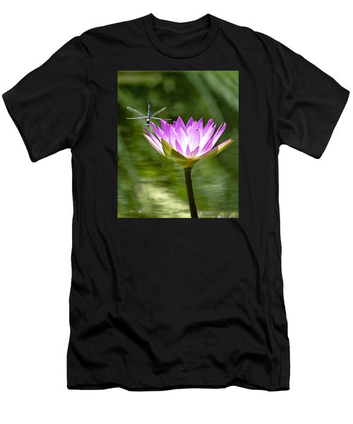Water Lily With Dragon Fly Men's T-Shirt (Athletic Fit)