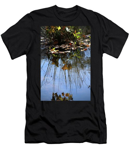 Men's T-Shirt (Slim Fit) featuring the photograph Water Reflection Of Plant Growing In A Stream by Emanuel Tanjala