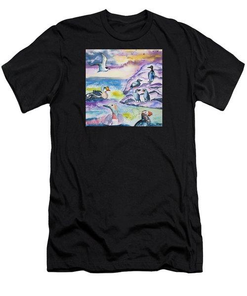 Watercolor - Alaska Seabird Gathering Men's T-Shirt (Athletic Fit)