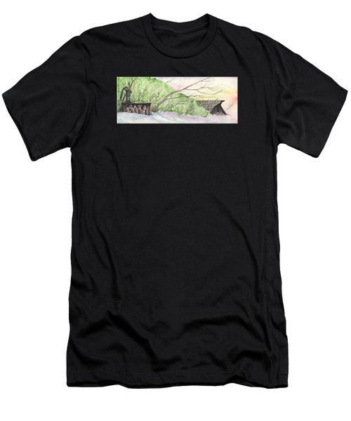 Men's T-Shirt (Athletic Fit) featuring the painting Watercolor Barn by Darren Cannell