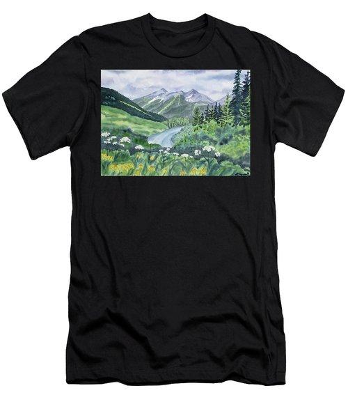 Watercolor - Colorado Summer Landscape Men's T-Shirt (Athletic Fit)