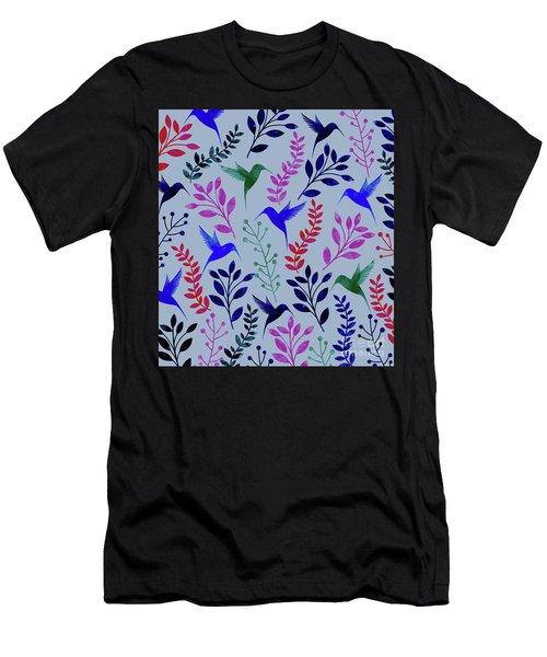 Watercolor Floral Birds Men's T-Shirt (Athletic Fit)