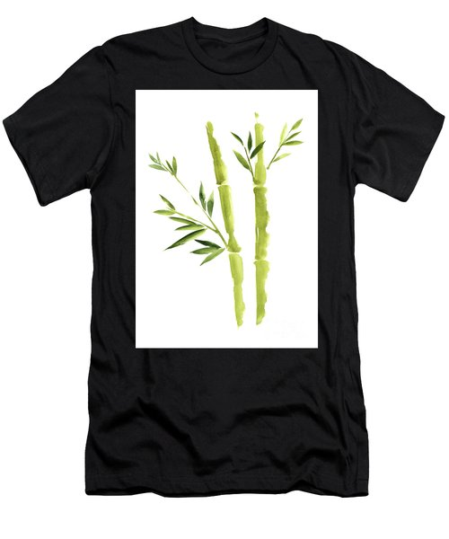 Bamboo Stick Wall Paper Art, Watercolor Living Room Decor Illustration, Green Bamboo Leaves Painting Men's T-Shirt (Athletic Fit)