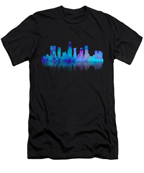 Men's T-Shirt (Athletic Fit) featuring the digital art Watercolor Los Angeles Skylines On An Old Paper by Georgeta Blanaru