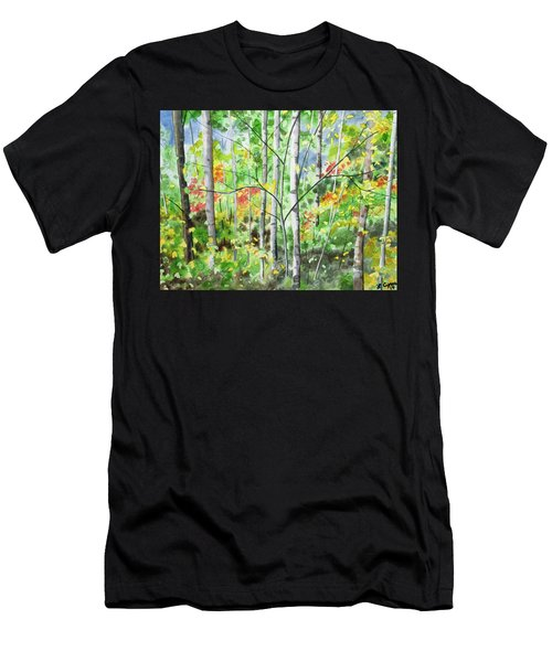 Men's T-Shirt (Athletic Fit) featuring the painting Watercolor - Northern Forest by Cascade Colors