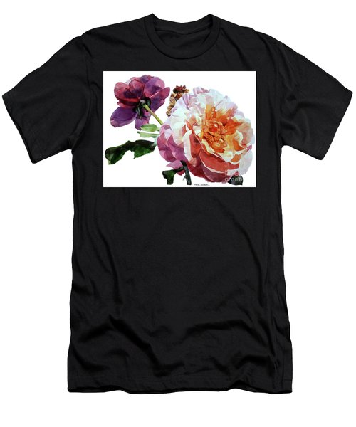 Watercolor Of Two Roses In Pink And Violet On One Stem That  I Dedicate To Jacques Brel Men's T-Shirt (Athletic Fit)