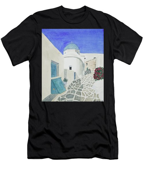 Watercolor - Paros Church And Street Scene Men's T-Shirt (Athletic Fit)
