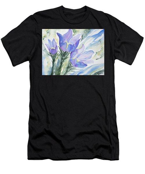 Watercolor - Pasque Flowers Men's T-Shirt (Athletic Fit)