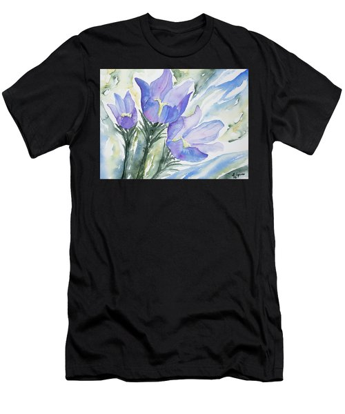 Watercolor - Pasque Flowers Men's T-Shirt (Athletic Fit)