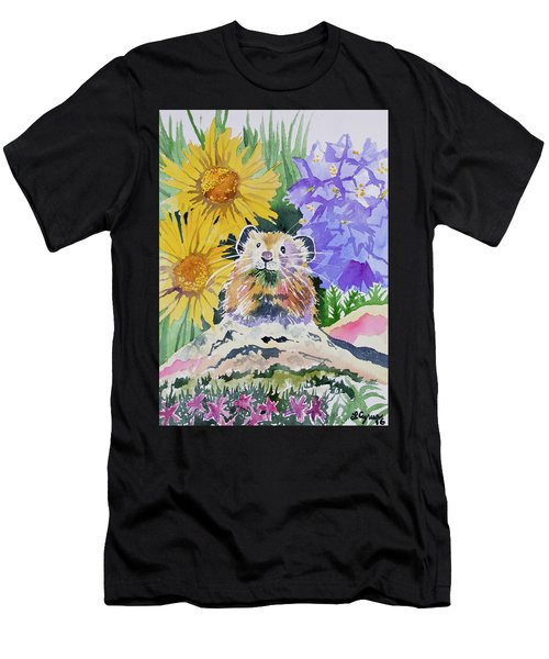 Watercolor - Pika With Wildflowers Men's T-Shirt (Athletic Fit)
