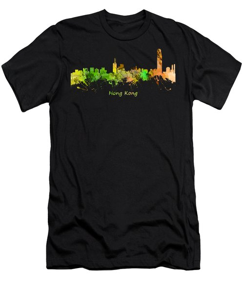 Watercolor Skyline Of Hong Kong Men's T-Shirt (Athletic Fit)