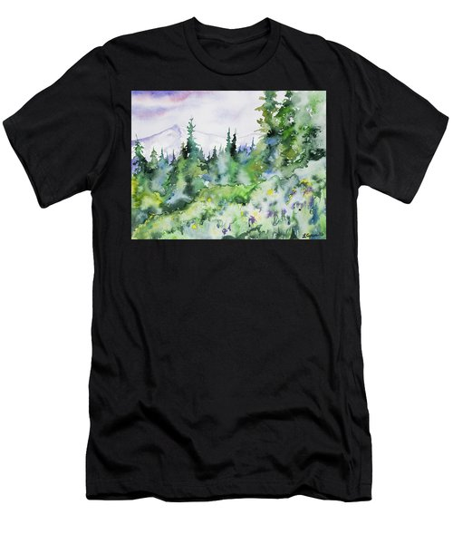 Watercolor - Summer In The Rockies Men's T-Shirt (Athletic Fit)