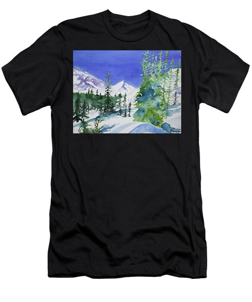 Watercolor - Sunny Winter Day In The Mountains Men's T-Shirt (Athletic Fit)