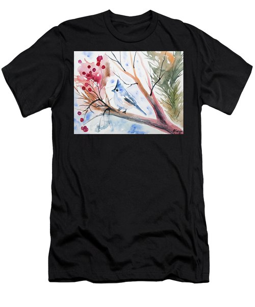 Watercolor - Tufted Titmouse With Winter Berries Men's T-Shirt (Athletic Fit)