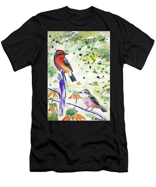 Watercolor - Vermilion Flycatcher Pair In Quito Men's T-Shirt (Athletic Fit)