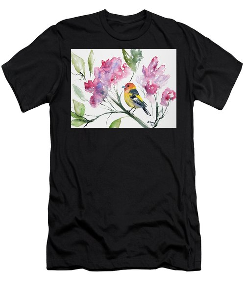 Watercolor - Western Tanager In A Flowering Tree Men's T-Shirt (Athletic Fit)