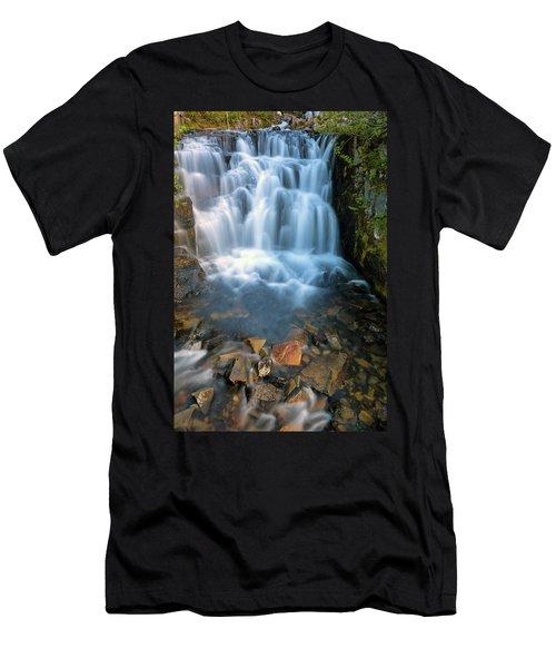 Waterfall Along Sunbeam Creek In Mt Rainier National Park Men's T-Shirt (Athletic Fit)
