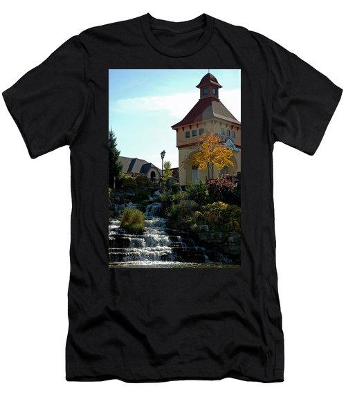 Men's T-Shirt (Slim Fit) featuring the photograph Waterfall Frankenmuth Mich by LeeAnn McLaneGoetz McLaneGoetzStudioLLCcom