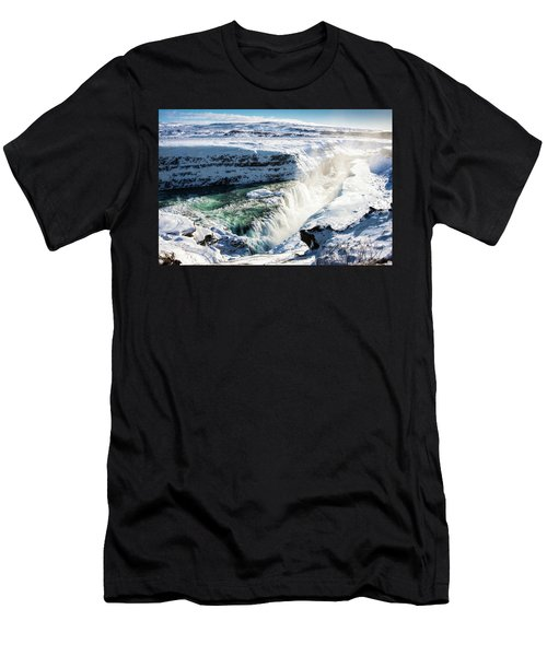 Men's T-Shirt (Slim Fit) featuring the photograph Waterfall Gullfoss Iceland In Winter by Matthias Hauser