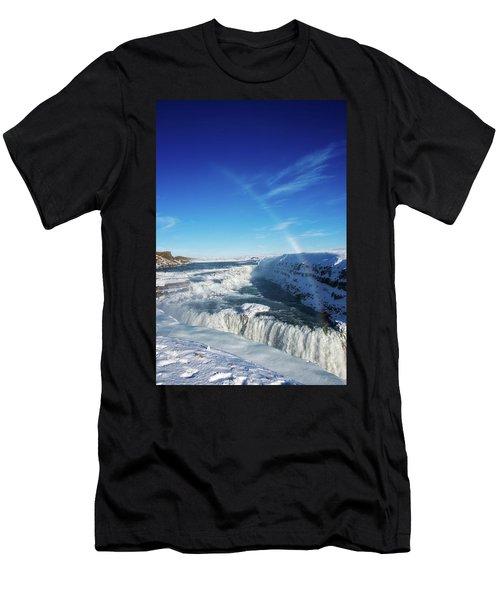Waterfall Gullfoss In Winter Iceland Europe Men's T-Shirt (Slim Fit) by Matthias Hauser