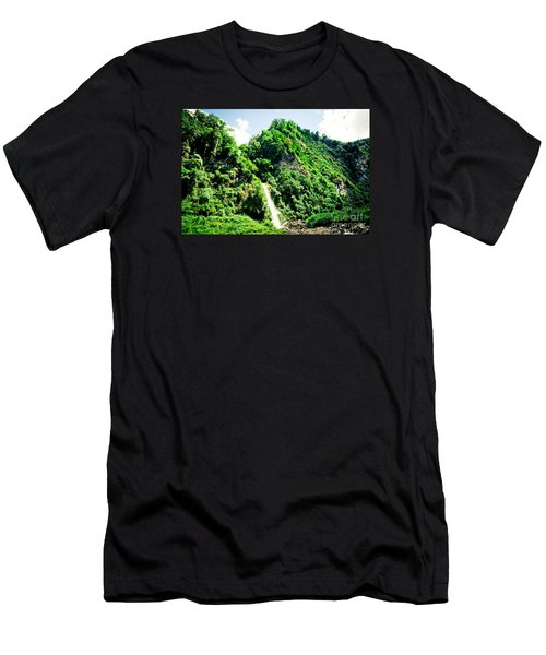 waterfall Himalayas mountains NEPAL Men's T-Shirt (Athletic Fit)