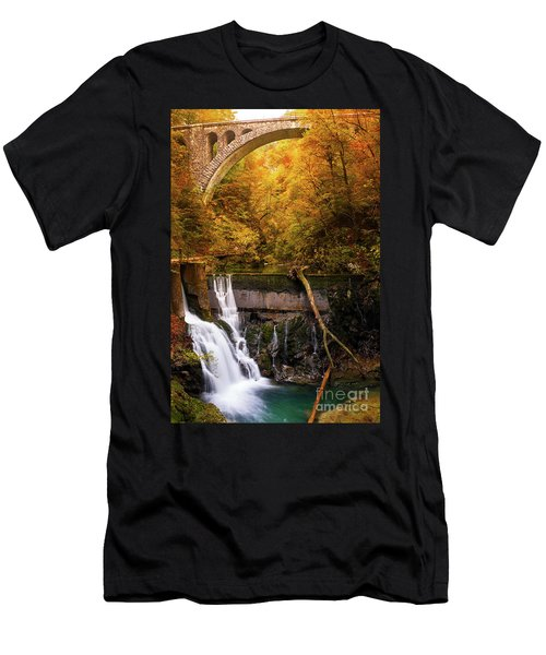 Men's T-Shirt (Athletic Fit) featuring the photograph Waterfall In An Autumn Canyon by IPics Photography