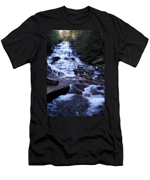 Waterfall In Georgia Men's T-Shirt (Slim Fit) by Angela Murray