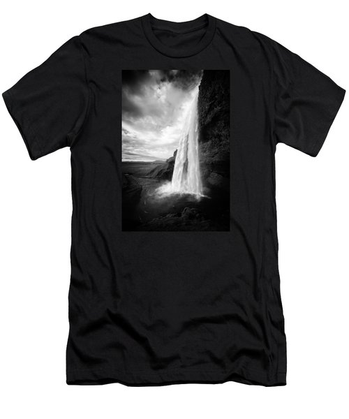 Men's T-Shirt (Athletic Fit) featuring the photograph Waterfall In Iceland Black And White by Matthias Hauser