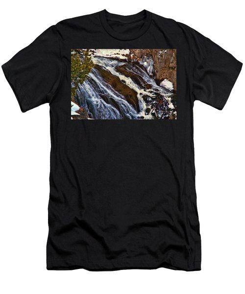 Waterfall In Yellowstone Men's T-Shirt (Slim Fit) by C Sitton