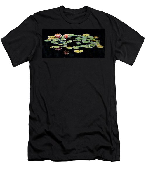 Men's T-Shirt (Slim Fit) featuring the painting Waterlily Panorama by Marilyn Smith