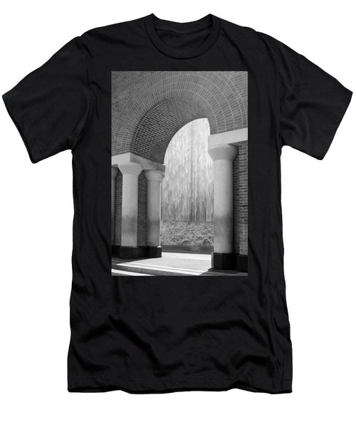 Waterwall And Arch 3 In Black And White Men's T-Shirt (Athletic Fit)